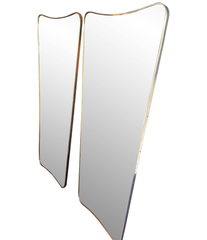 MEDIUM ITALIAN SHIELD MIRROR WITH BRASS SURROUND IN THE STYLE OF GIO PONTI