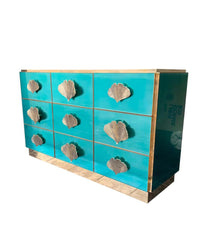 ITALIAN AQUA GREEN MIRRORED CHEST OF DRAWERS WITH BRASS CORAL SHAPED HANDLES