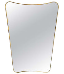 ITALIAN SHIELD MIRROR WITH BRASS SURROUND IN THE STYLE OF GIO PONTI