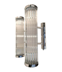 ITALIAN VENINI STYLE MURANO GLASS ROD, WALL SCONCES WITH CHROME FITTING