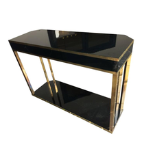 JEAN CLAUDE MAHEY BLACK LACQUER AND BRASS CONSOLE