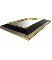 JEAN CLAUDE MAHEY BRASS AND BLACK LACQUER MIRROR