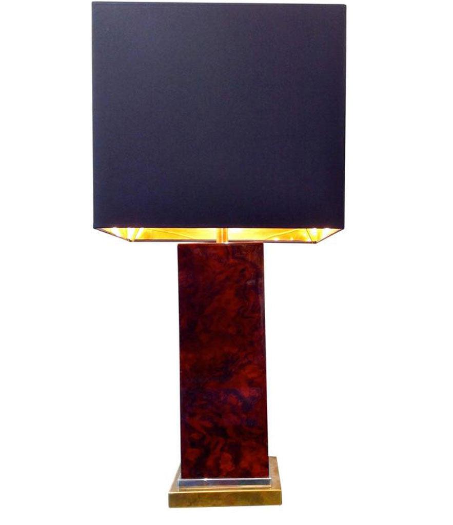 JEAN CLAUDE MAHEY BURL WOOD AND BRASS LAMP