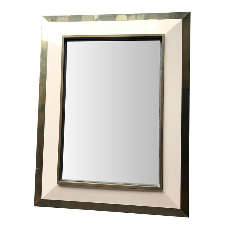 JEAN CLAUDE MAHEY IVORY LACQUER AND BRASS MIRROR