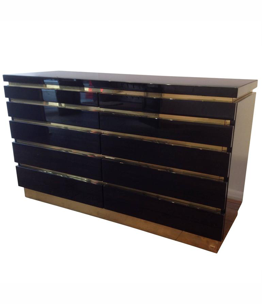 1970S JEAN CLAUDE MAHEY BLACK LACQUER CHEST OF DRAWERS