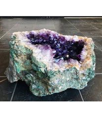LARGE BRAZILIAN AMETHYST GEODE WITH LIGHTS INSIDE