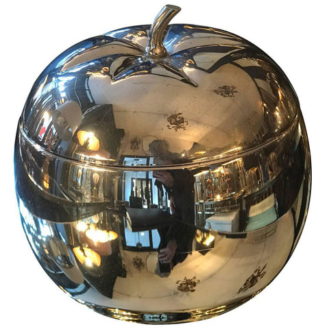 LARGE CHROME APPLE ICE BUCKET