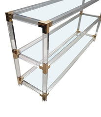 LARGE MIDCENTURY LUCITE AND GILT METAL CONSOLE TABLE WITH GLASS SHELVES