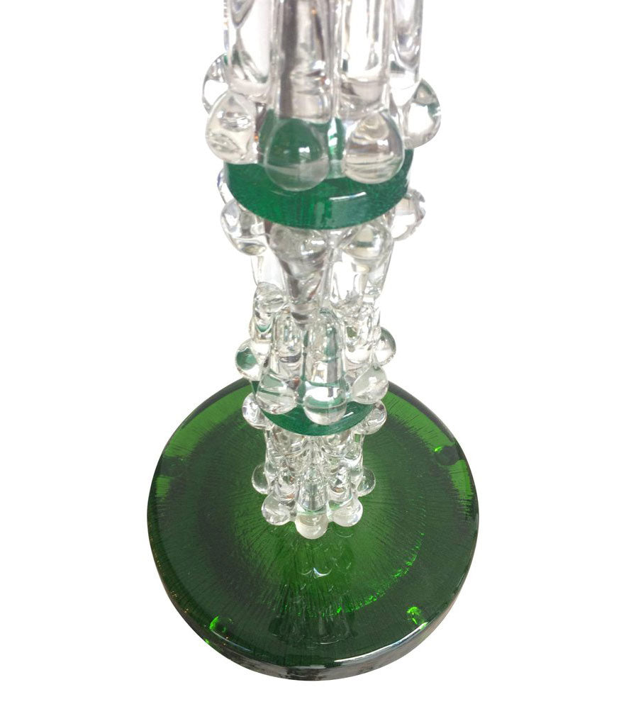 LARGE PAIR OF GREEN ORREFORS GLASS LAMPS