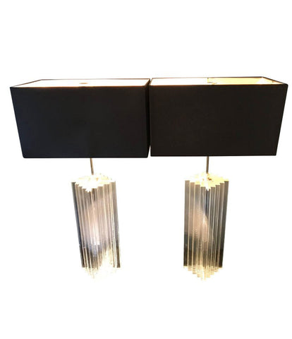 LARGE PAIR OF KARL SPRINGER STYLE LUCITE LAMPS