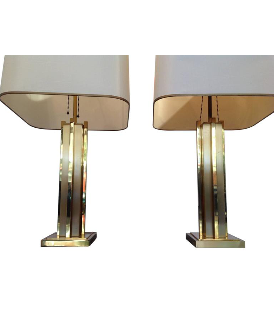 LARGE PAIR OF WILLY RIZZO BRASS LAMPS