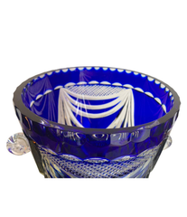 LARGE VAL ST LAMBERT COBALT BLUE CUT CRYSTAL CHAMPAGNE BUCKET