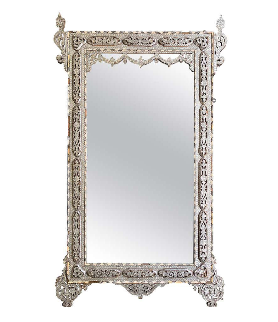 LARGE STUNNING 19TH CENTURY SYRIAN MIRROR WITH MOTHER OF PEARL INLAY