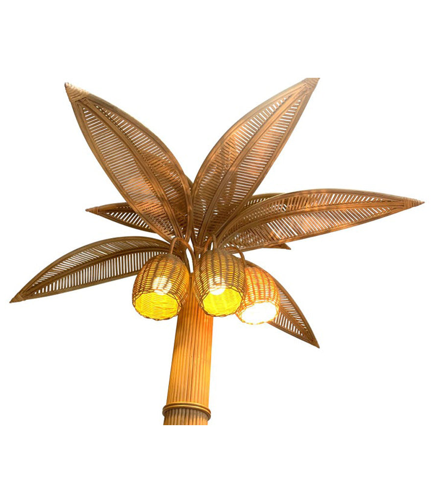 LARGE RATTAN PALM TREE FLOOR LIGHT, WITH THREE BULBS IN THE COCONUTS
