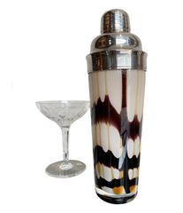 LOVELY MURANO GLASS COCKTAIL SHAKER WITH CHROME SIEVE AND LID TOP