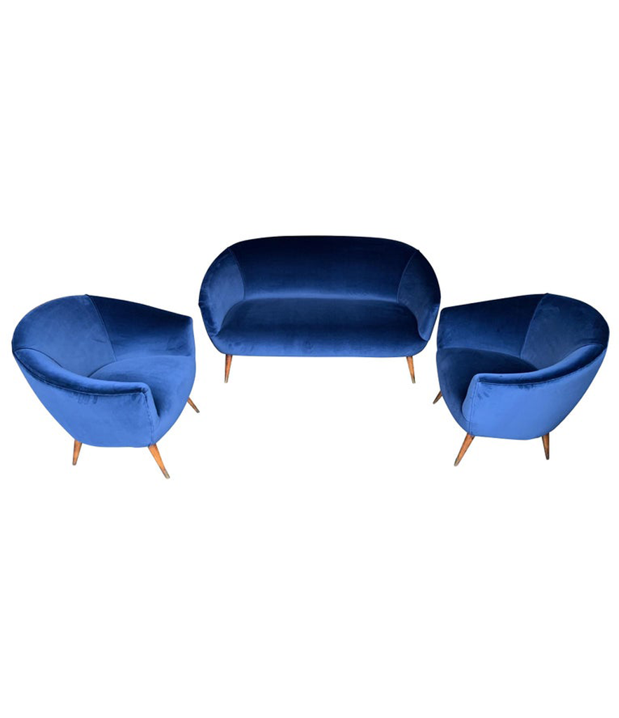 LOVELY PAIR OF ITALIAN 1950S COCKTAIL CHAIRS IN THE STYLE OF GIO PONTI