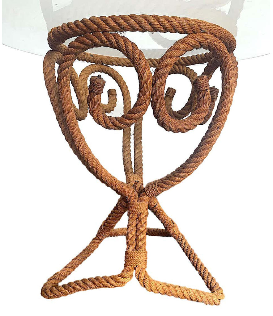 LOVELY 1950S FRENCH RIVIERA ROPE SIDE TABLE BY ADRIEN AUDOUX AND FRIDA MINET