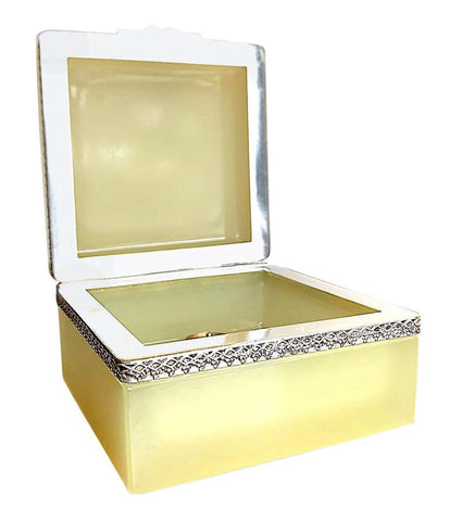 Lovely 1950s Yellow Murano Glass Hinged Jewelry Box by Cendese
