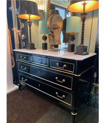 LOVELY ANTIQUE FRENCH LOUIS XVI STYLE EBONISED COMMODE WITH CARRARA MARBLE TOP