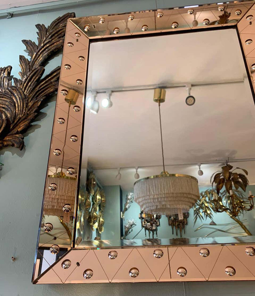 LOVELY ART DECO MIRROR WITH ROSE MIRRORED FRAME WITH CONVEX CIRCULAR DETAIL