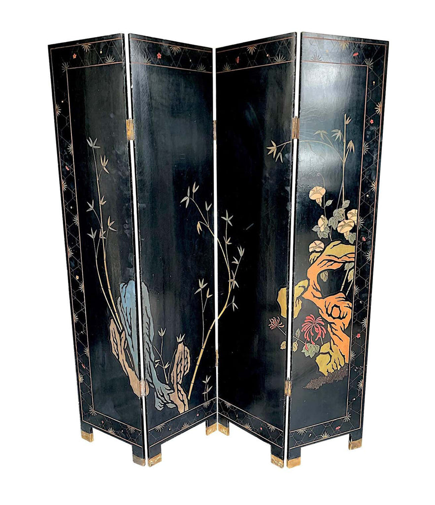 LOVELY FOUR PANEL MIDCENTURY CHINESE LACQUERED SCREEN WITH BIRDS AND FOLIAGE