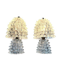 LOVELY PAIR OF 1940S BAROVIER E TOSO ROSTRATE MURANO GLASS LAMPS