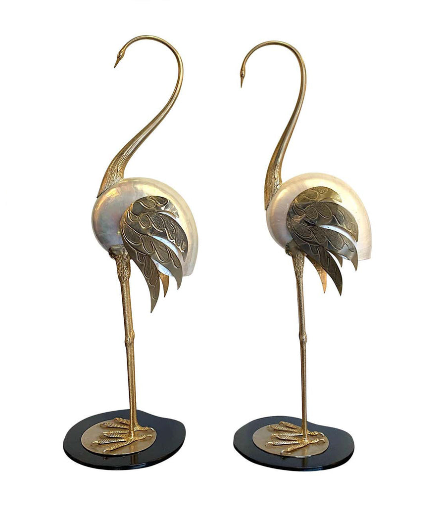 LOVELY PAIR OF 1970S BRASS AND REAL NAUTILUS SHELL FLAMINGOS BY ANTONIO PAVIA