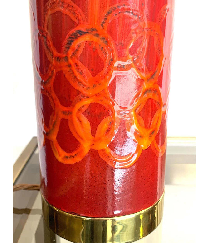 LOVELY PAIR OF SWEDISH RED CERAMIC LAMPS BRASS FITTINGS AND NEW BESPOKE SHADES