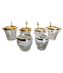 LOVELY RARE 1960S VAL ST LAMBERT CRYSTAL AND GOLD-PLATED COCKTAIL SET