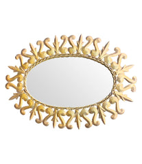 LOVELY SPANISH ORNATE GILT METAL OVAL SUNBURST WALL MIRROR