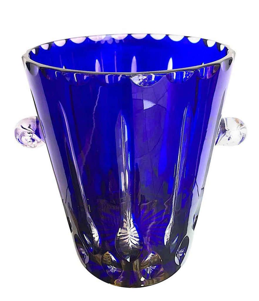 LOVELY VAL SAINT LAMBERT COBALT BLUE CRYSTAL CHAMPAGNE BUCKET