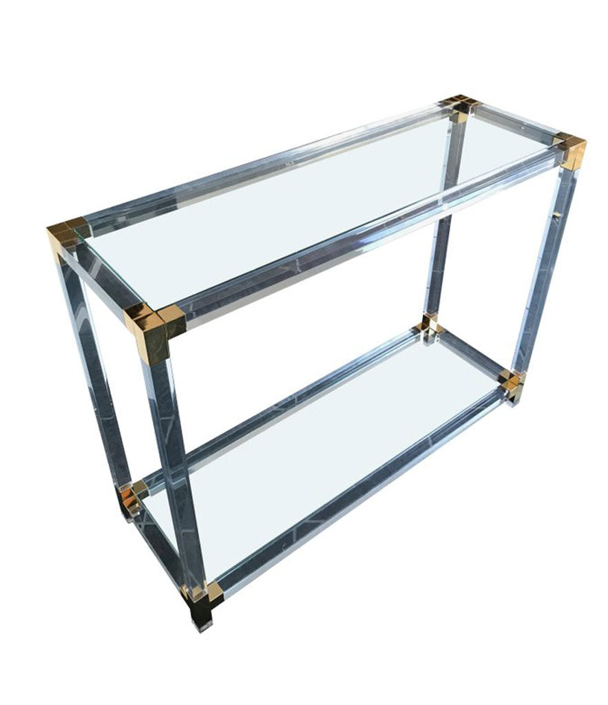 LUCITE AND GILT METAL CONSOLE TABLE