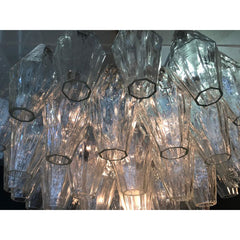 LARGE POLIEDRI CHANDELIER BY CARLO SCARPA FOR VENINI