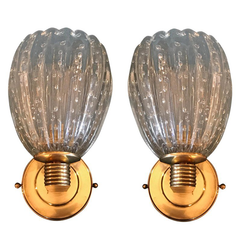 LOVELY PAIR OF BAROVIER AND TOSA PUELGOSO WALL SCONCES