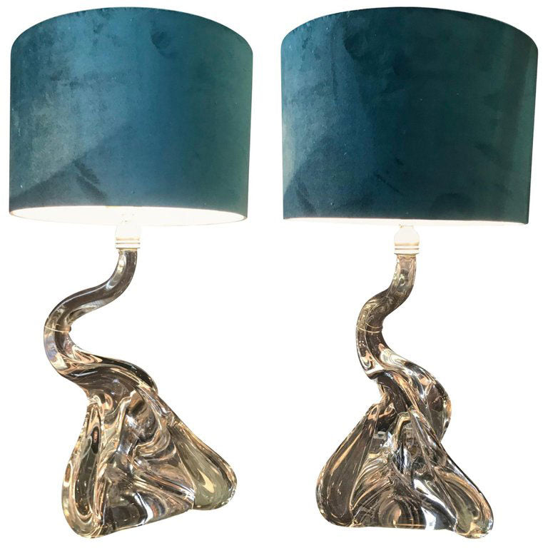 LOVELY PAIR OF SWAN NECKED MURANO GLASS LAMPS