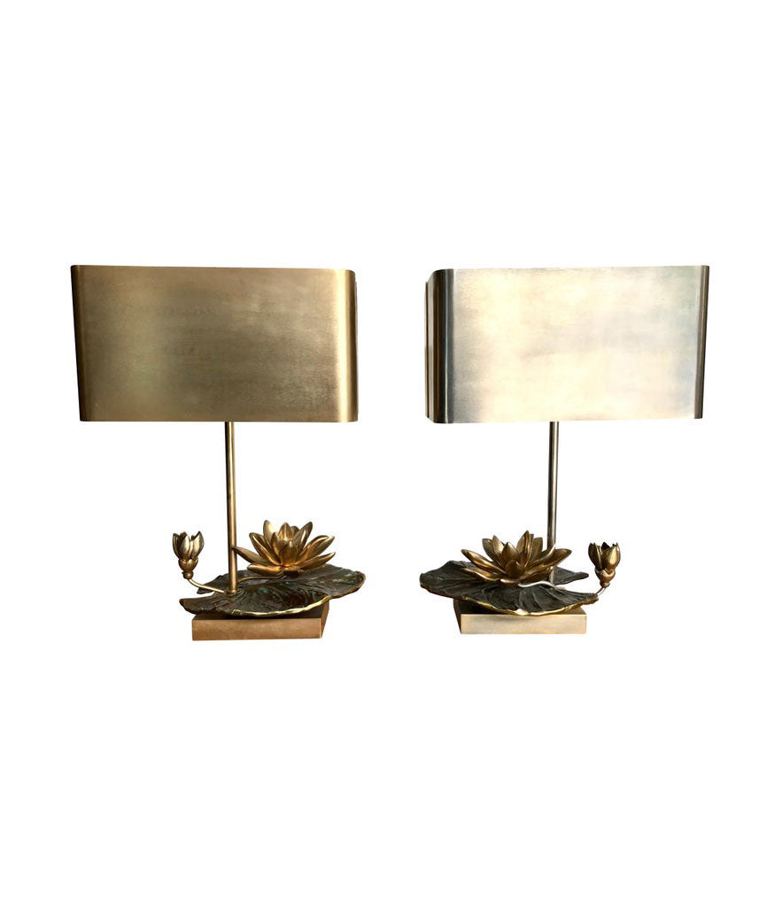 "MAISON CHARLES ""NENUPHAR DOUBLE ECRAN"" BRONZE LAMP WITH ORIGNAL METAL SHADE"