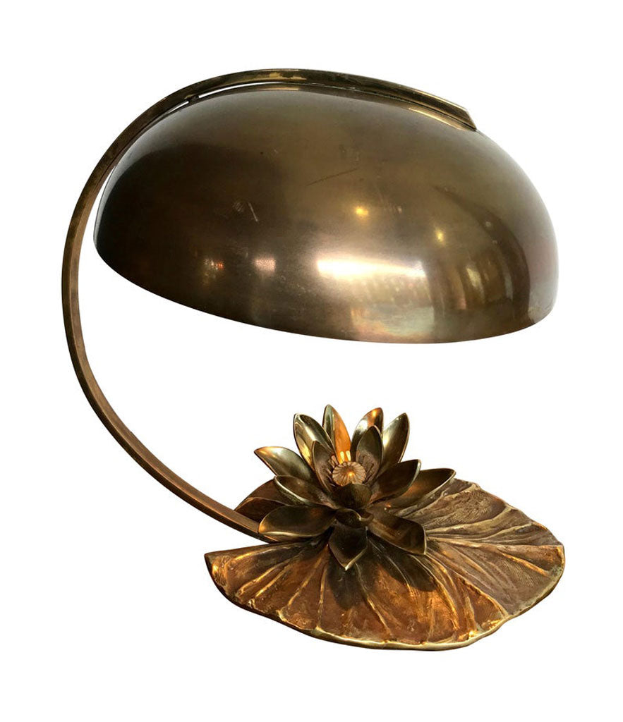 "MAISON CHARLES ""NENUPHAR"" BRONZE LAMP WITH ORIGINAL DOMED METAL SHADE"