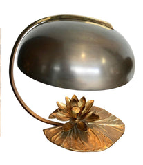 "MAISON CHARLES ""NENUPHAR"" BRONZE LAMP WITH ORIGNAL DOMED METAL SHADE"