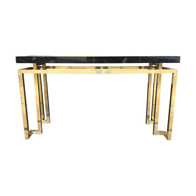 MAISON JANSEN STYLE BRASS AND BLACK LUCITE CONSOLE TABLE