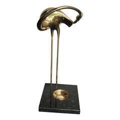 MIDCENTURY BRASS FLAMINGO SHAPED UMBRELLA HOLDER