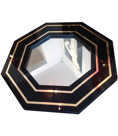 J C Mahey octagonal mirror black lacquer and brass