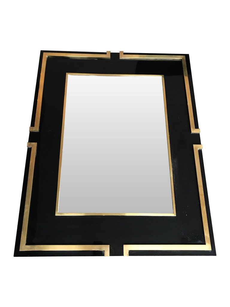 MAISON JANSEN STYLE BLACK LUCITE MIRROR WITH BRASS DETAIL
