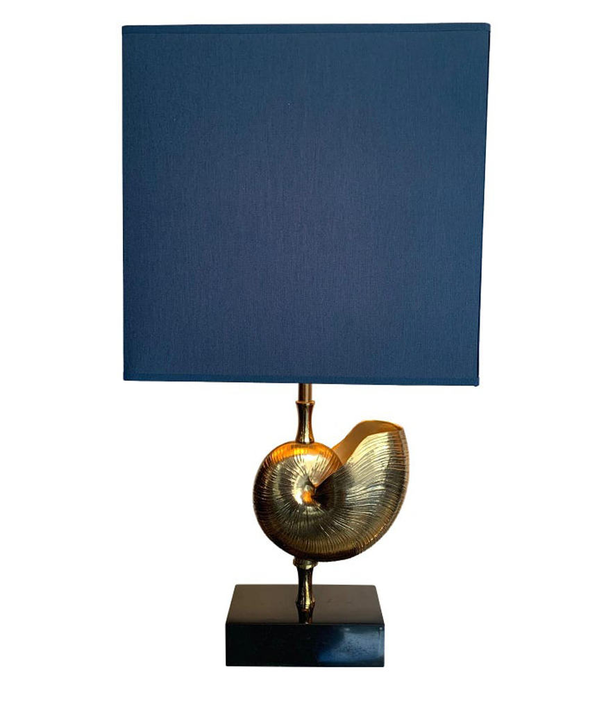 "PAIR A BRASS ""NAUTILUS"" LAMPS IN THE STYLE OF MAISON CHARLES WITH BLUE SHADES"