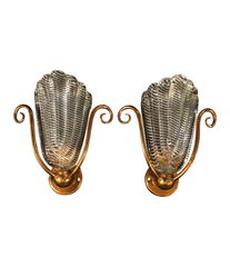 PAIR OF 1950S BAROVIER AND TOSO, MURANO GLASS WALL SCONCES WITH BRASS FITTINGS
