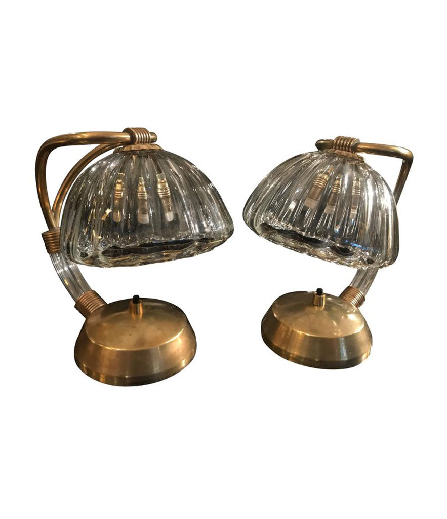 PAIR OF 1950S BAROVIER & TOSO GLASS AND BRASS LAMPS