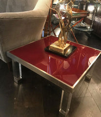 PAIR OF 1970S RED GLASS AND LUCITE SIDE TABLES