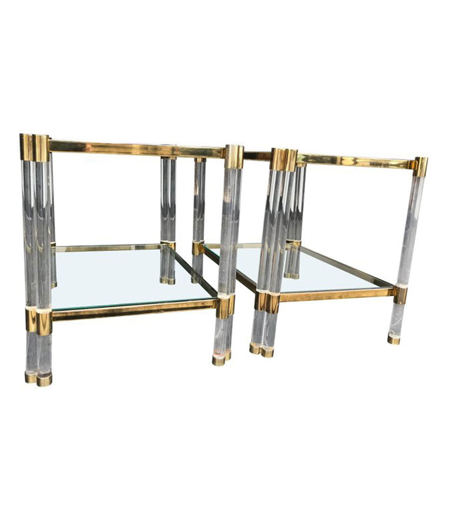 PAIR OF ART DECO LUCITE AND GILT METAL SIDE TABLES