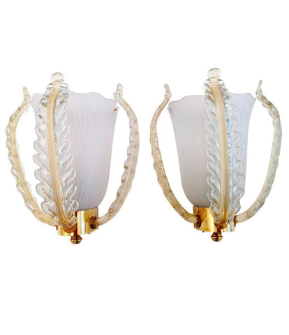 PAIR OF BAROVIER AND TOSA WALL SCONCES