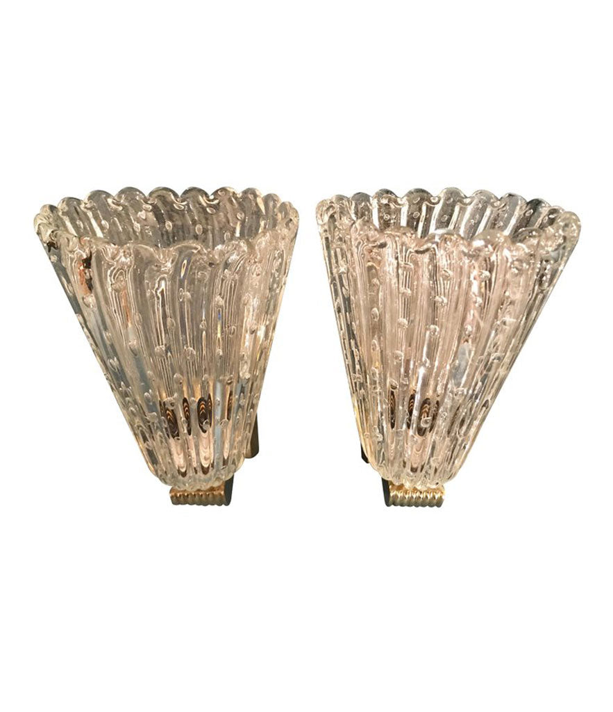 "PAIR OF BAROVIER AND TOSA ""BULLICANTE"" GLASS WALL SCONCES"
