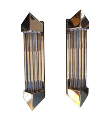 PAIR OF BRASS AND GLASS ROD WALL SCONCES